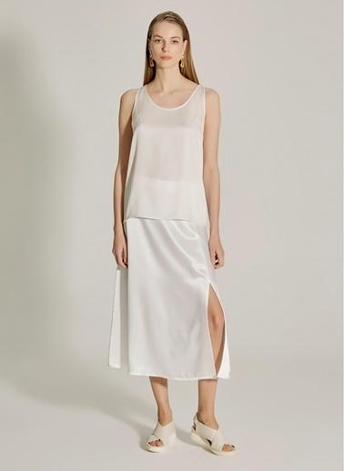 NGSTYLE PREMIUM - İpekli Saten Bluz Beyaz